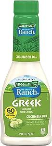 Hidden Valley Greek Yogurt Cucumber Dill Salad Dressing & Topping, Gluten Free - 12 Ounce Bottle (Package May Vary)