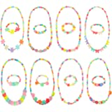 Bememo 8 Sets Princess Necklace and Bracelet Baby Girls Costume Jewelry Toddler Kids Dress up Jewelry Party Favors