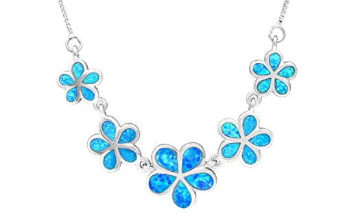 Honolulu Jewelry Company Sterling Silver Five Plumeria Flower Necklace with Simulated Blue Opal