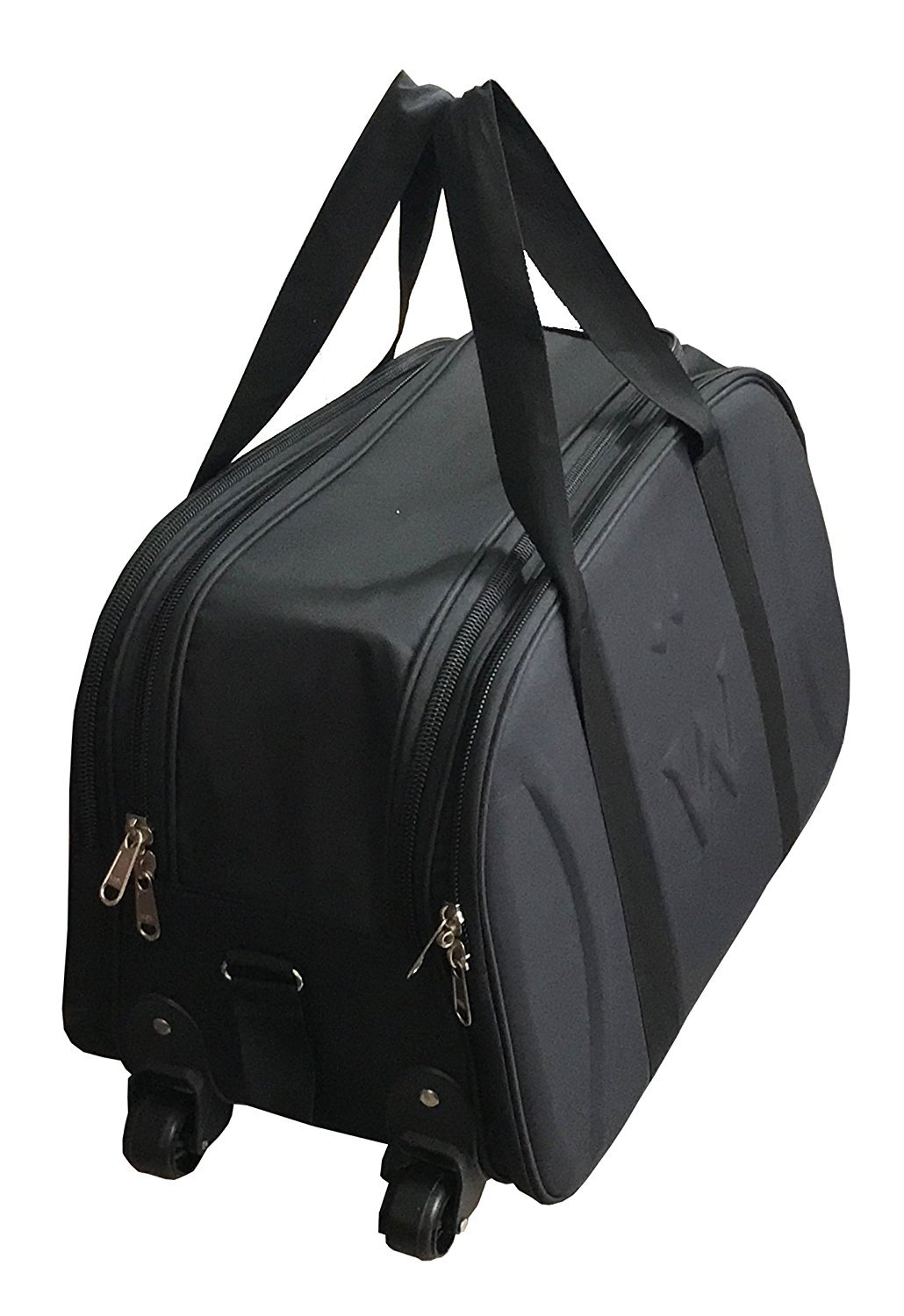 Shuban Canvas Black Travel Duffle Bag with Wheels