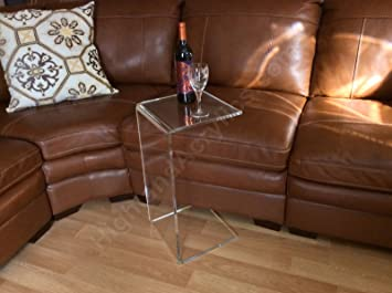 C Table Clear Acrylic Lucite Plexiglass END SIDE TABLE 26u0026quot; High Couch  Laptop Wine
