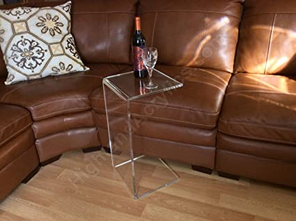C Table Clear Acrylic Lucite Plexiglass END SIDE TABLE 26u0026quot; High For  Sofa Laptop
