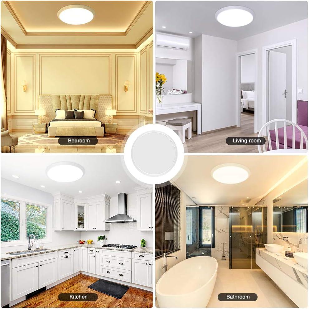 for Living Room Balcony Hallway,48W Bedroom 2 Pieces Ceiling Light Waterproof IP44,Bathroom Lights Ceiling Adjustable Color Temperature 3000-6000K