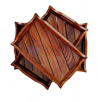 Handcrafted Rosewood Heavy Large Wooden Serving Trays Set Of 3 | Kitchen  Home Decor Dinner Platters