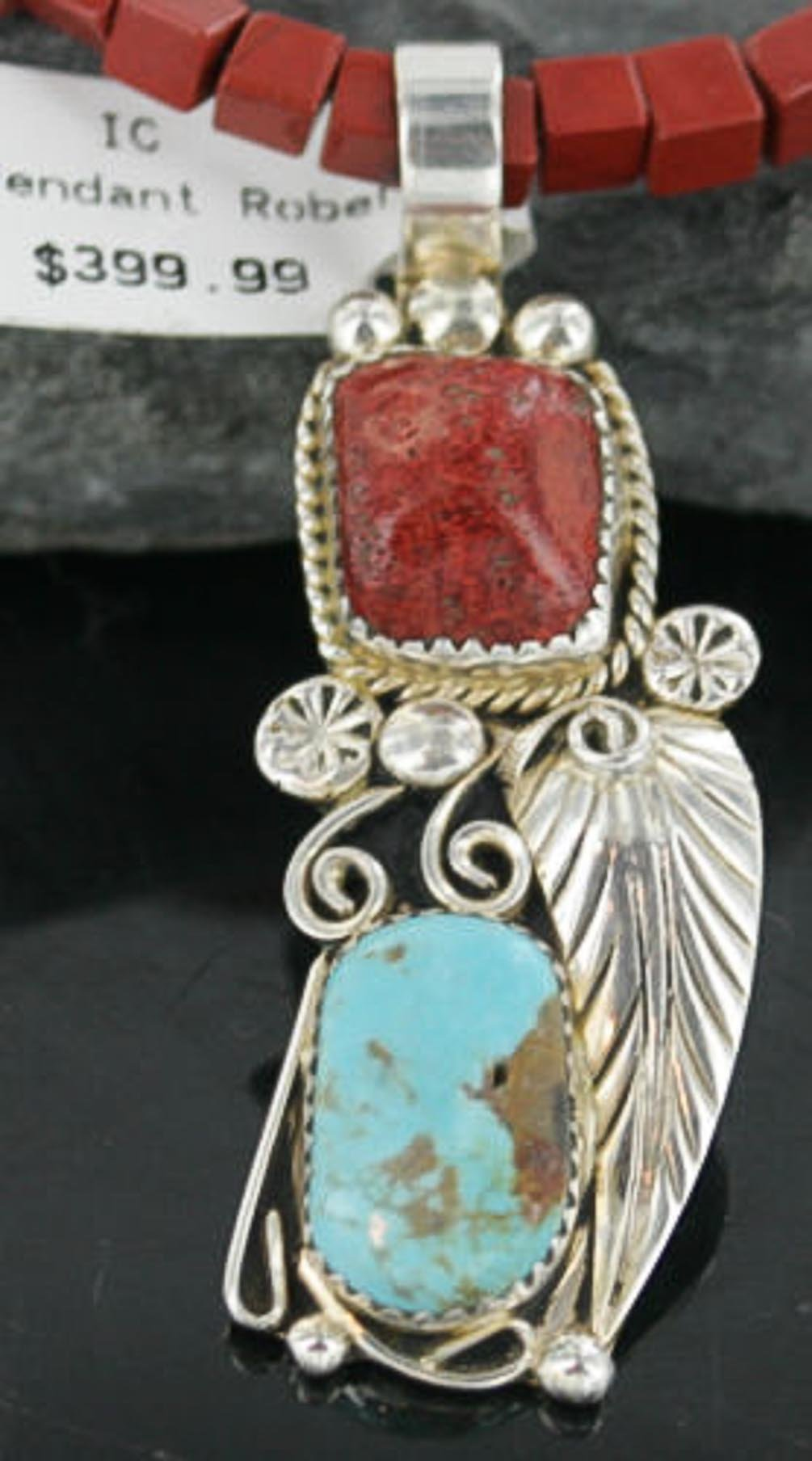 Large $600 Retail Tag Handmade Authentic Made by Robert Little Navajo Silver Natural Coral and Turquoise Native American Necklace