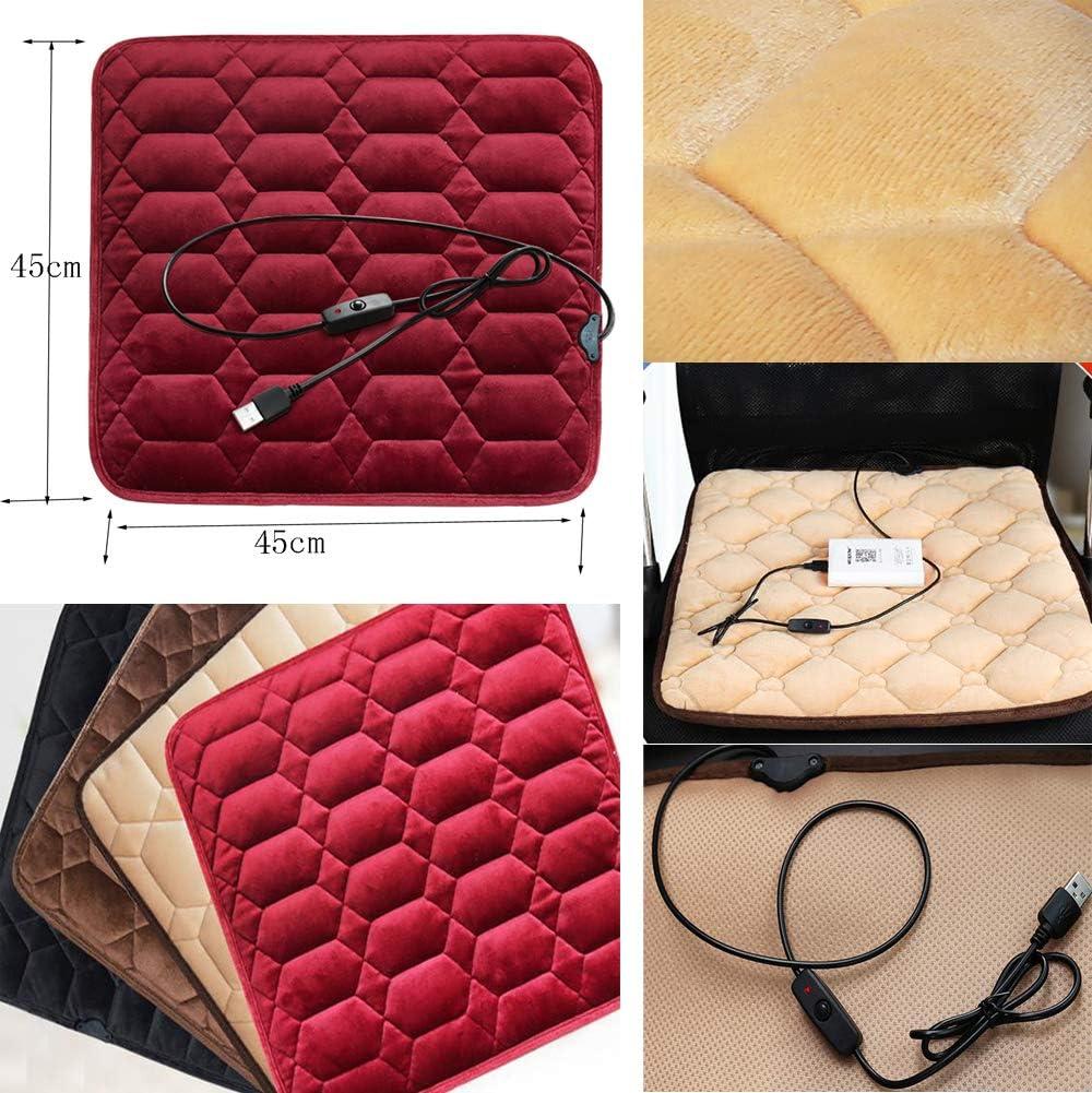 Plush Beige USB Heated Seat Cushion Office Chair Car Seat Heating Pad Pet Warming Cushion