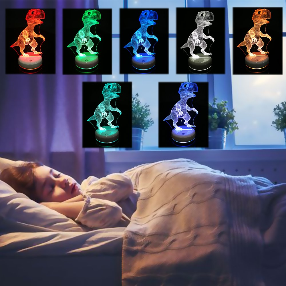 LED Dinosaur Night Light Lamp,Rechargeable Dimmable Night Light with Luminous White Base for Kids/Adults,Colors Changing by Touch Or Remote Control(No Battery in The Remote) (Cute Dinosaur)