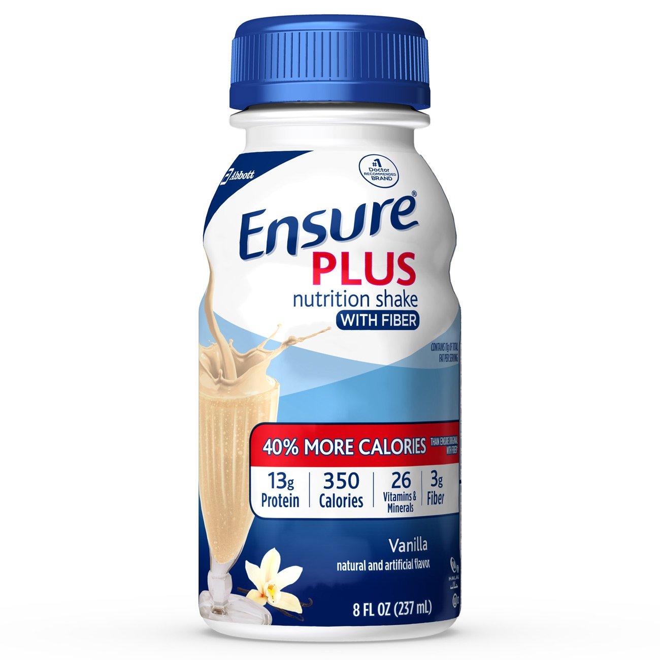Ensure Plus Nutrition Shake With Fiber, Vanilla, 24 Count