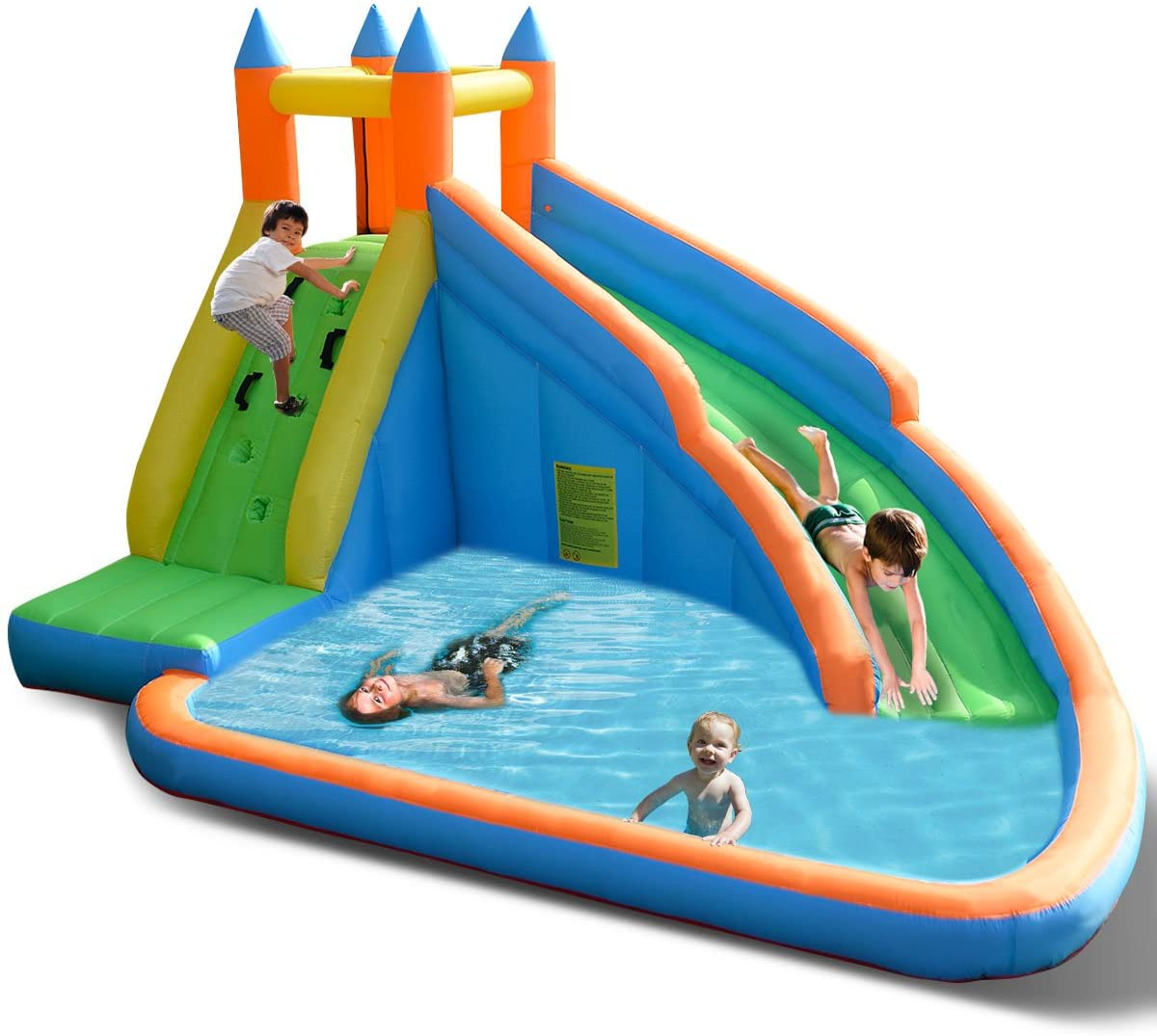 Amazon Com Costzon Inflatable Water Slide Slide Bouncer Water Pool With Long Slide Climbing Wall Including Oxford Carry Bag Repairing Kit Stakes Castle Bounce House Without Blower Toys Games