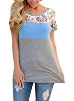 Itsmode Womens Summer Casual Chic Colorblock Tops Blouses Tshirt S-2X