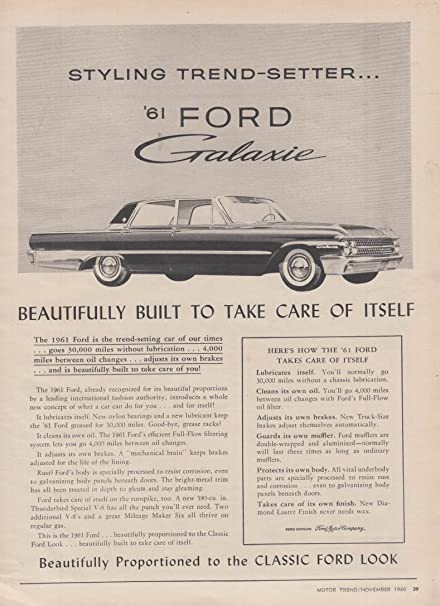 Styling Trend Setter Ford Galaxie Ad 1961 At Amazons Entertainment Collectibles Store