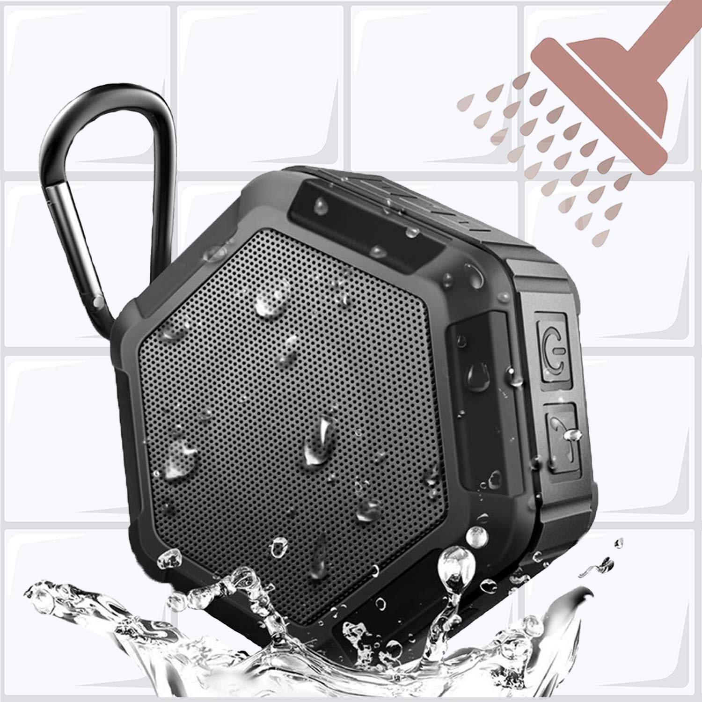 ミニポータブルアウトドアBluetoothスピーカー 5ワット 大音量サウンド 重低音強化 ワイヤレスシャワー 防水 iPhone iPad Android用  upgraded [black] B07PFBQ23B