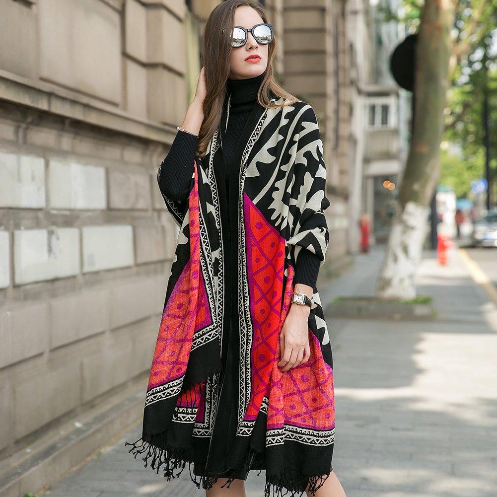 DANA XU 100% Pure Wool Women Winter Large Size Pashmina Travel Shawl (Red) by DANA XU (Image #4)