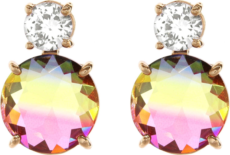 TEMPUS FUGIT. Pendientes para mujer antialérgicos chapados en Oro con cristales de colores brillantes
