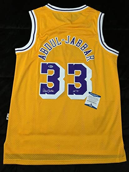 b4831eb9c9c Image Unavailable. Image not available for. Color  Kareem Abdul-Jabbar  Autographed Signed Los Angeles Lakers Basketball Jersey Hof 95 Beckett  Authentic