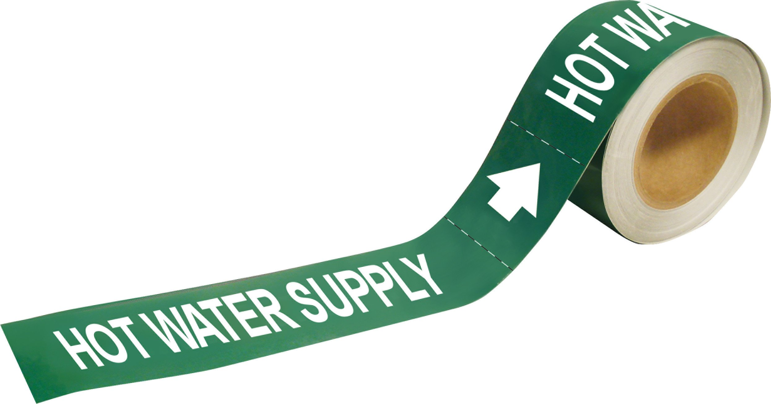 Brady 109276 Economy Pipe Markers-To-Go, B-946, 2'' Height X 12'' Width, White On Green Pressure Sensitive Vinyl, Legend ''Hot Water Supply''