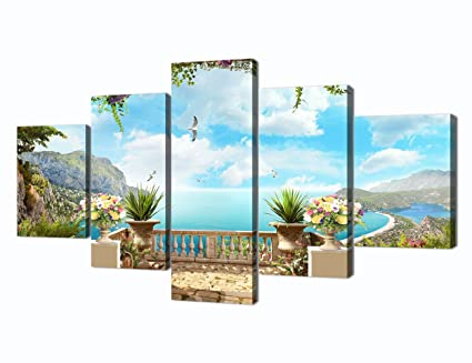 European Landscape Ocean Painting 5 Piece Modern Wall Art Canvas Print Pictures for Home Decoration Living  sc 1 st  Amazon.com : european wall art - www.pureclipart.com
