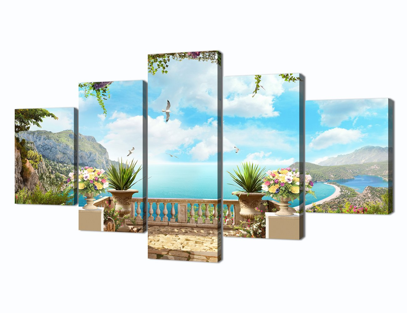 CDM product Garden Pictures for Living Room Ocean Painting 5 Piece Modern Wall Art Canvas Print Home Decoration Bedroom Wall Art for Living Room Decor Posters and Print Framed Ready to Hang(60''W x 32''H) big image