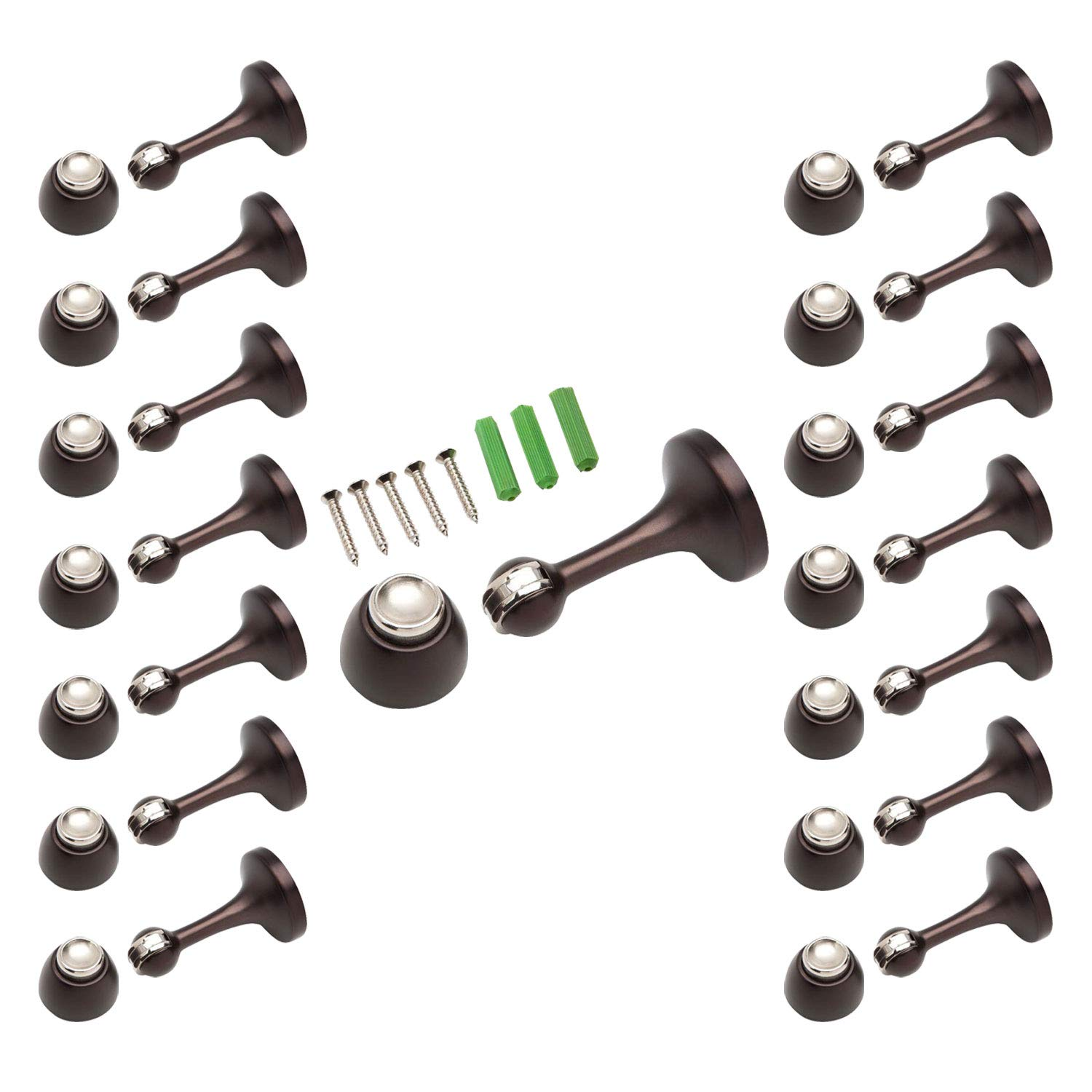 Magnetic Door Stop 3in. Catch Protects and Holds Premium-Grade (15-Pack, Oil-Rubbed Bronze) by Litepak