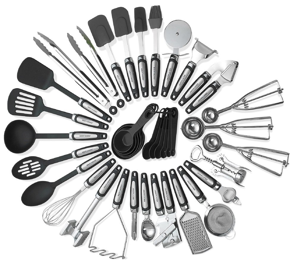 Kitchen Utensils Sets 39 Pieces- Stainless Steel And Nylon Gadgets- Turners, Spoon, Ladle, Tongs, Spatulas, Cutter, Potato Press, Brush, Strainer Whisk, And More - By Kitch N' Wares by Kitch N' Wares