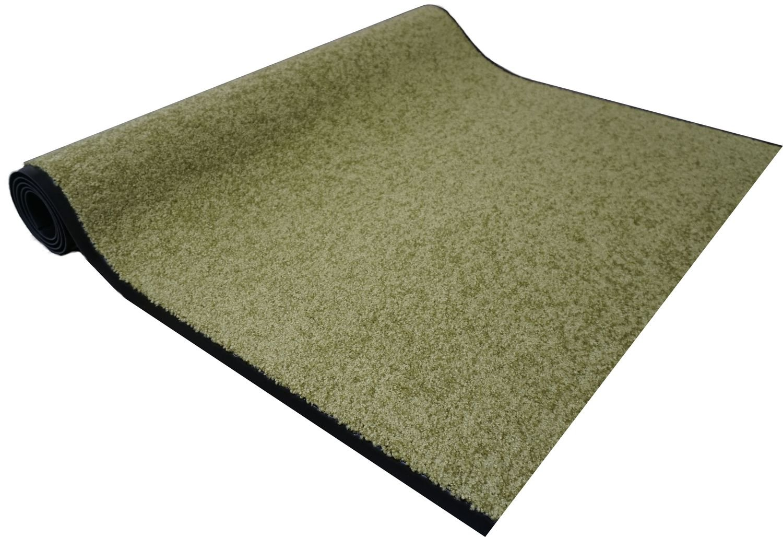 Proper Tex Uni Läufer grün Schmutzfangläufer Meterware nach Maß 90 cm breit Teppich Brücke Flur in vielen Längen und Breiten lieferbar, waschbar bei 30 Grad, rutschfest, saugfähig und leicht zu reinigen, extrem strapazi