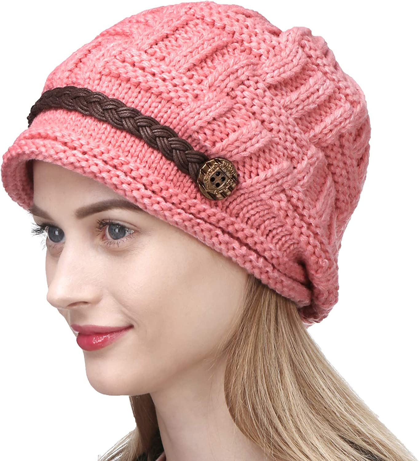 Women Winter Warm Knit Hat OBO Bands Wool Snow Ski Caps With Visor Hats