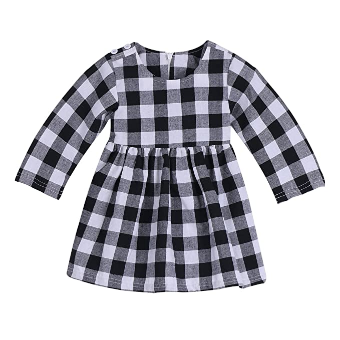 e62ef30f2 Image Unavailable. Image not available for. Colour: Little Kids Baby Girl  Dress White and Black Plaid Tutu Skirt Party Princess Formal ...