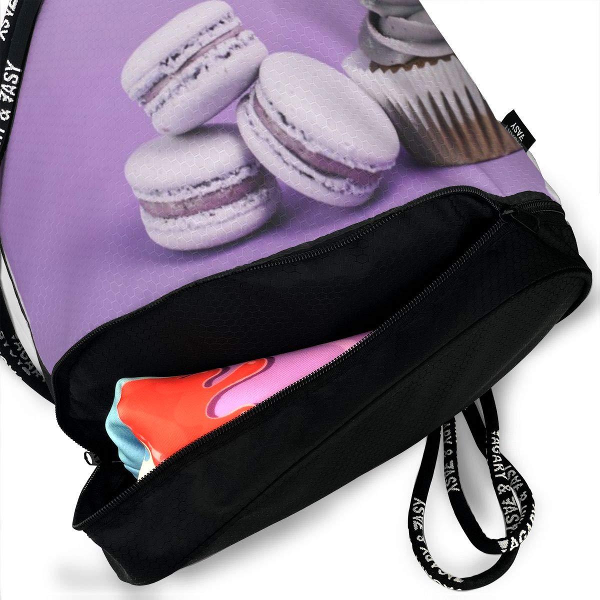 Candles Cupcake Purple Macaron Fairy Cake Drawstring Bag Multipurpose Bundle Dance Bag Sack Pack