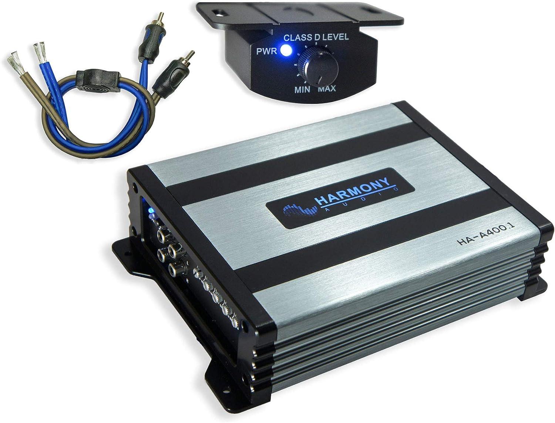 2 Kicker 43TC104 Car Audio Single 10 Loaded Truck Sub Box Enclosure 300W Peak TC10 Bundle with Harmony HA-A400.1 Amplifier /& Amp Kit