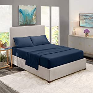 Clara Clark Premier 1800 Series 4pc Bed Sheet Set - Queen, Navy Blue, Hypoallergenic, Deep Pocket