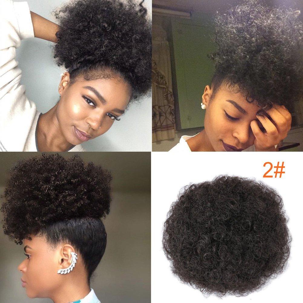Perruque Afro avec cordon de serrage, cheveux courts et bouclés, synthétiques, queue de cheval bouffante, pour femmes, à porter au quotidien (# 1) LTD.