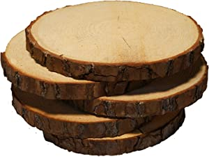 "5 Pack Round Rustic Woods Slices with Cracks, 9""-12"", Unfinished Wood, Great for Weddings Centerpieces, Crafts"