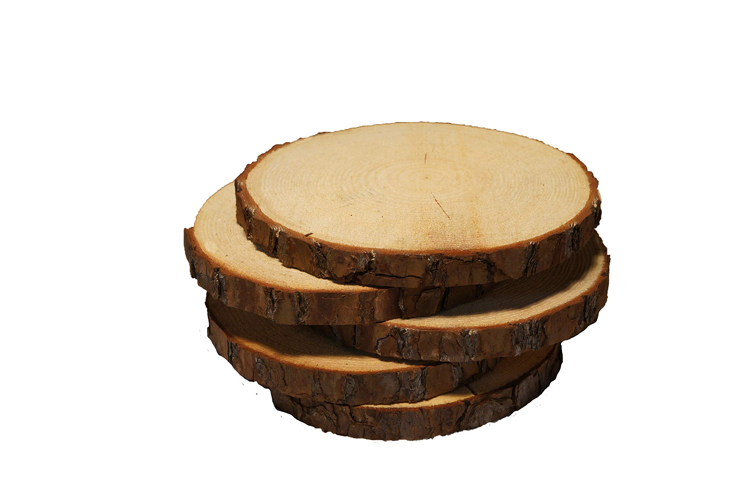 5 Pack Round Rustic Woods Slices with Cracks, 9''-12'', Unfinished Wood, Great for Weddings Centerpieces, Crafts