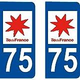 2 Stickers Autocollant style Plaque Immatriculation département 75