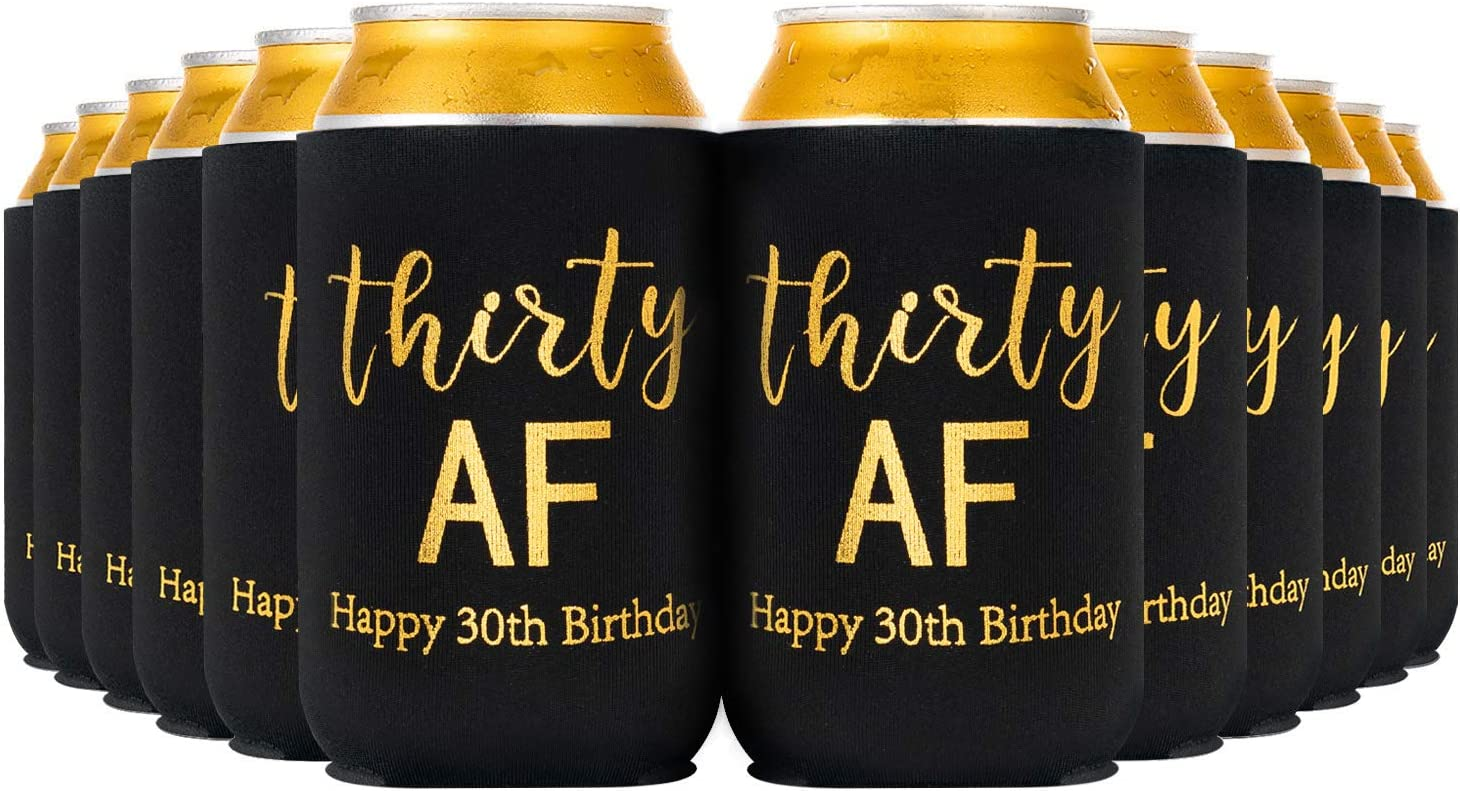 Crisky Thirty Can Cooler, 30th Birthday Decorations Beer Sleeve Party Favor, Can Covers with Insulated Covers, 12-Ounce Neoprene Coolers for Soda, Beer, Can Beverage, 12 Black Gold