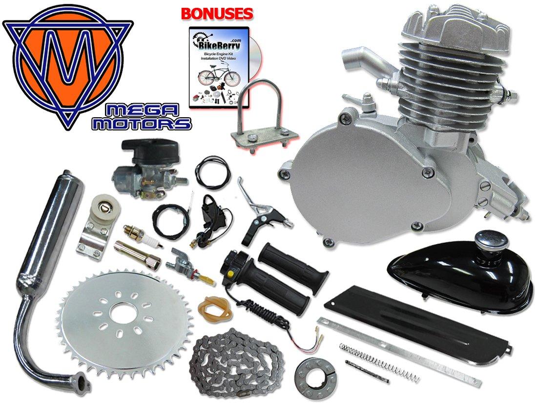 Mega Motors Angle Fire Bicycle Engine Kit - 2 Stroke (48cc, Silver)