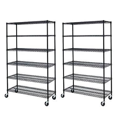 6 Tier Adjustable Wire Metal Shelving Rack, 82x48x18-Inch, Black 2pcs