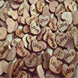 FOLWEP 100pcs Wooden Love Hearts Natural Wood