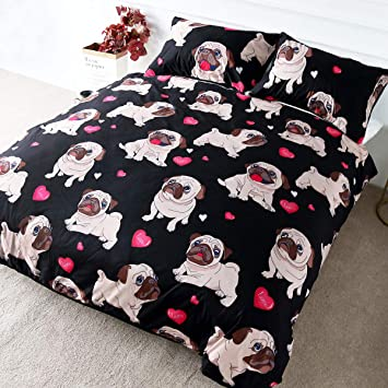 Pug Quilted Bedspread /& Pillow Shams Set Sitting Stretching Cute Dog Print