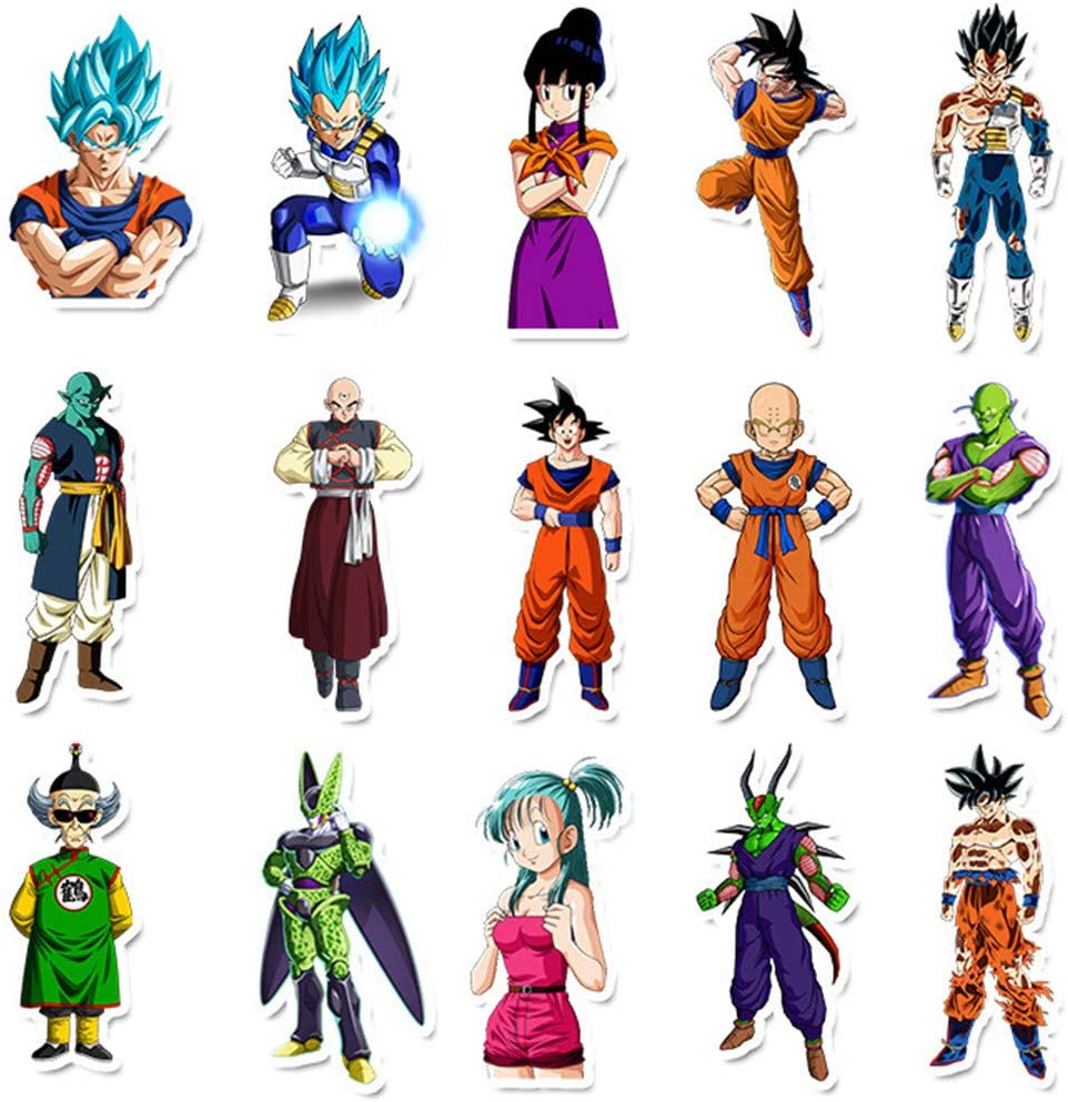 Waterproof Anime Stickers for Water Bottles Removable Vinyl Cool Stickers for Car Laptop Luggage MacBook Skateboard Stickers 50 PCS Dragon Ball Z Stickers