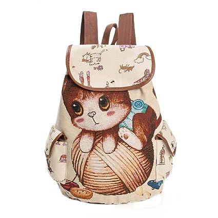 Bolso de las mujeres Lindo gato Impresión Mochila de lona con cordón Bolsa de la compra