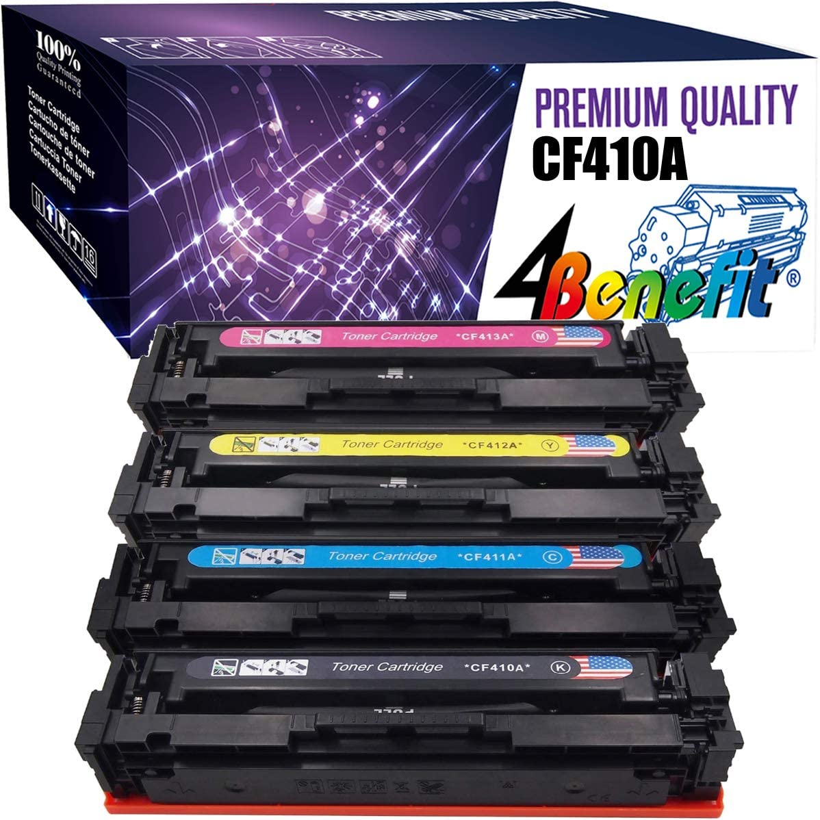 Compatible Toner Cartridges Replacement for HP 410A CF410A CF411A CF412A CF413A for HP M377dw M452dn M452nw M477fdw M477fnw Laser Printer with Chips-Combination