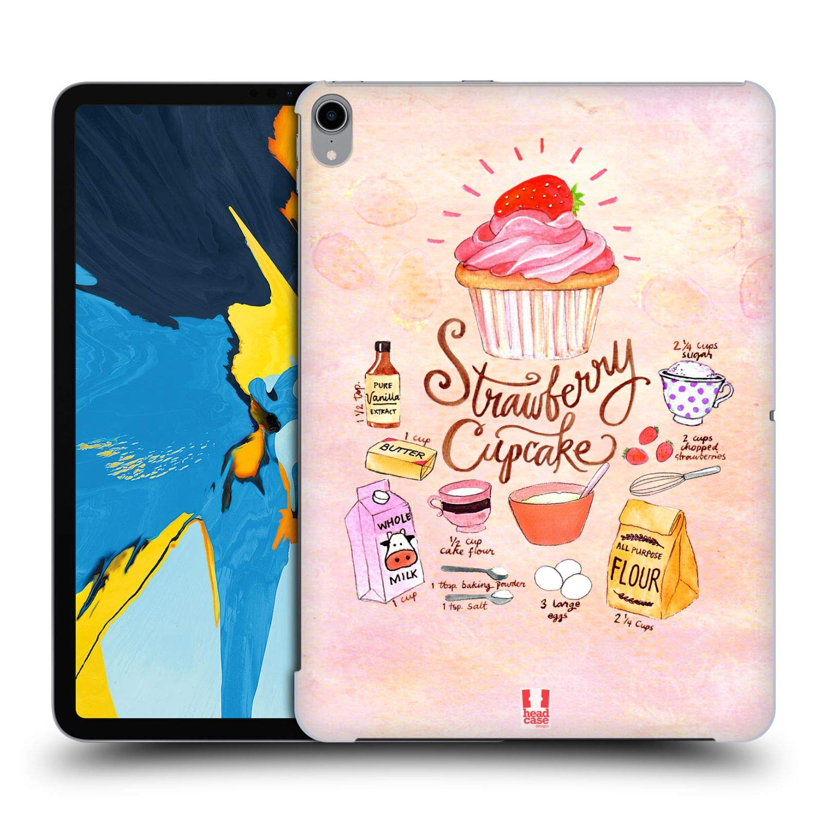 Head Case Designs Strawberry Cupcake Illustrated Recipes Hard Back Case Compatible for iPad Pro 11 (2018) by Head Case Designs