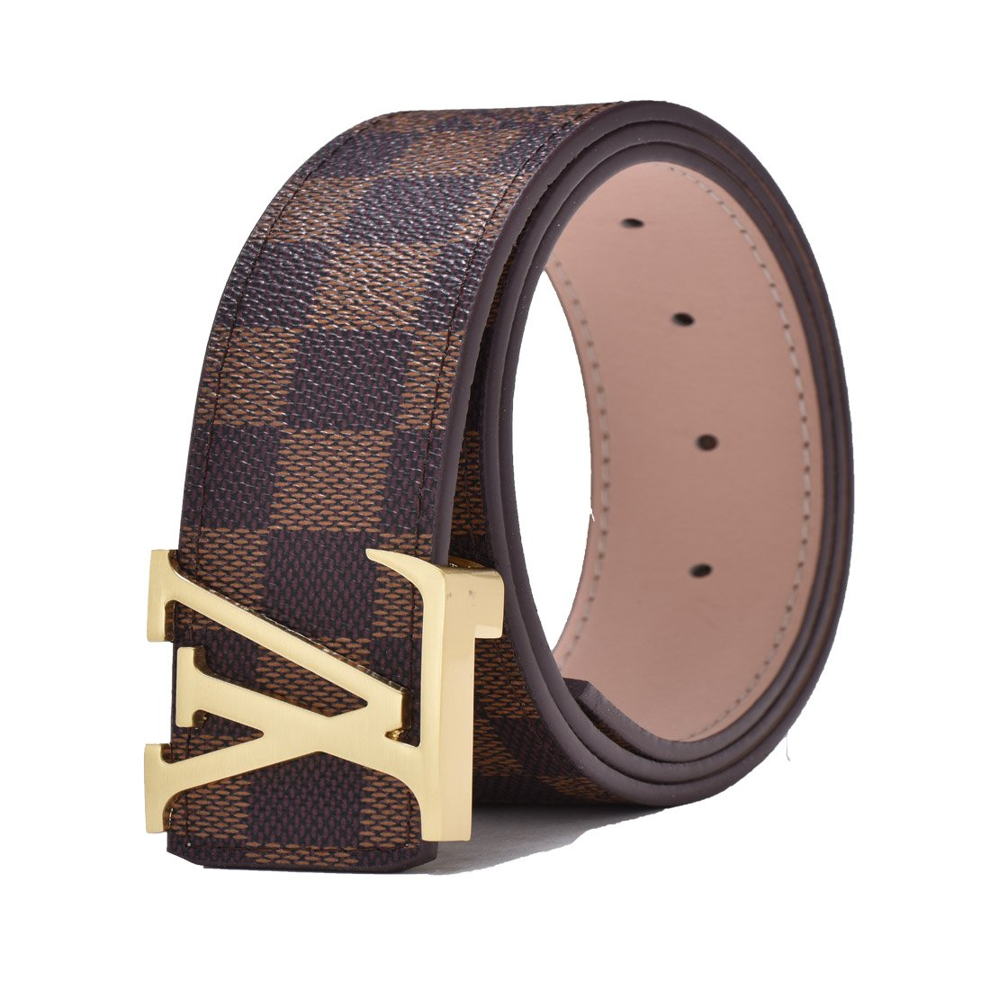 Fashion Leather Metal Buckle Unisex Belt Casual Business (Waist:30''-32'', Brown-1 belt with gold buckle)
