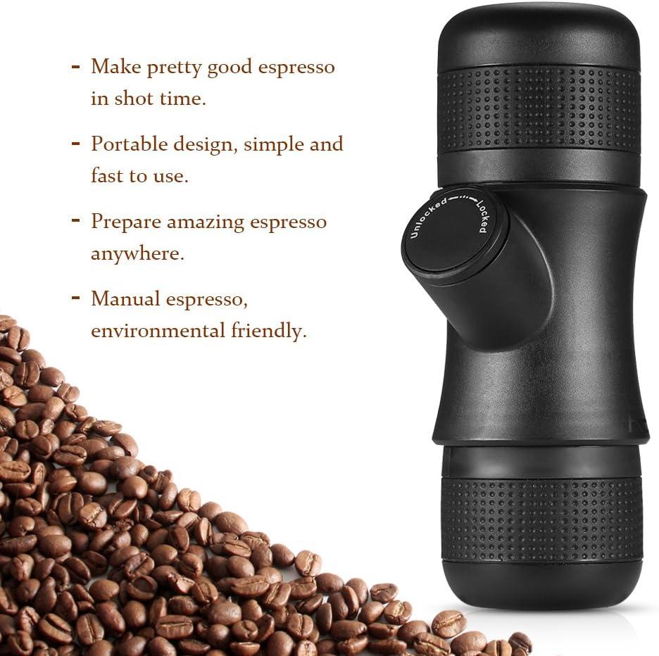 Decdeal Juego de Cafetera Manual Caja para Regalo Incluida Cafetera de C/ápsulas Espresso con Molinillo de Granos de Caf/é