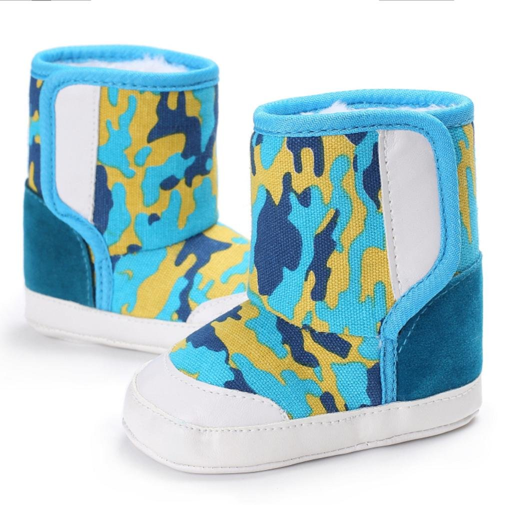 8# HEART SPEAKER Stars Print Baby Girl Boy Fashion Canvas Anti-Slip Thick Warm Shoes Winter Boots Size 11cm