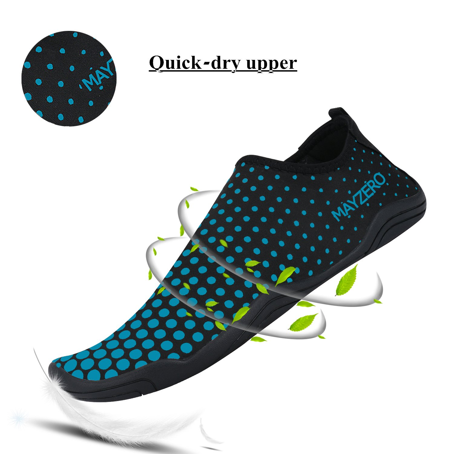 WXDZ Men Women Water Sports Shoes Quick Dry Barefoot Aqua Socks Swim Shoes for Pool Beach Walking Running (10.5 US Women/9 US Men, Dot-Blue) by WXDZ (Image #2)