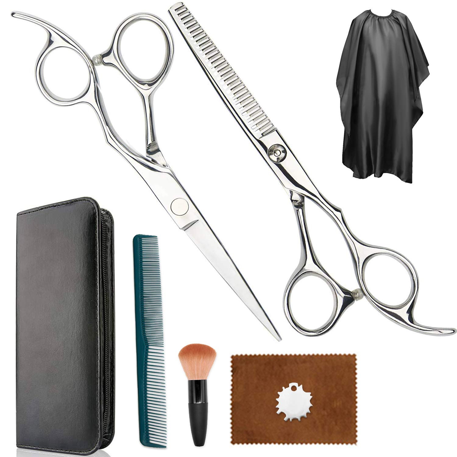 Hair Scissors, Hair Cutting Scissors Full Set ,Straight Scissors, Thinning Shears, Comb, Cape, Hairdressing Scissors Kit, Barber Set, Hair Cutting Shears Set Great For Hair Cutting At HOME and Salon