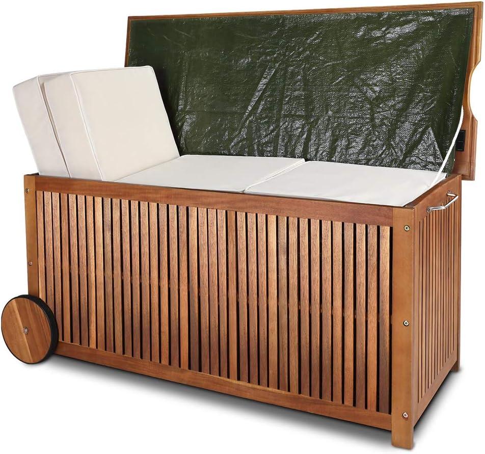 Deuba Baúl de madera con funda interior de protección agarraderos y ruedas de goma almacenaje de exterior jardín terraza