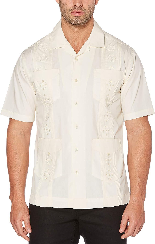 Cubavera Mens Big and Tall Camp Collar Embroidered Guayabera